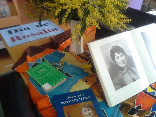 Rosalía na biblioteca.